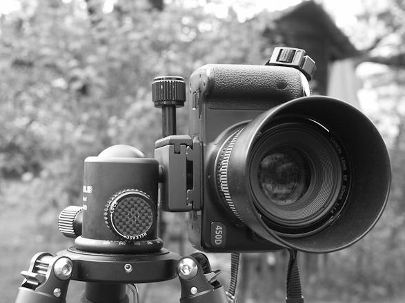 Feisol CB-40D Kugelkopf auf einem Feisol Torunamet Stativ mit Canon EOS 450D