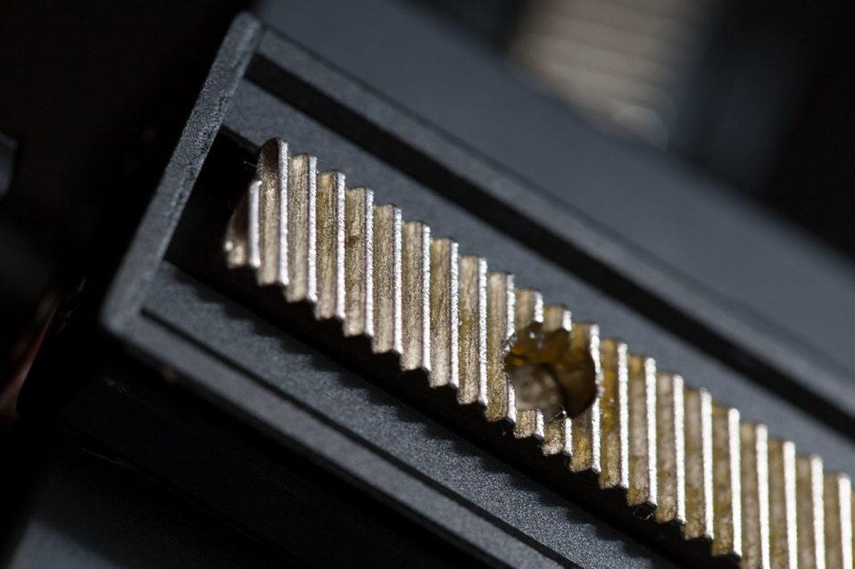 Zahnkranz des getesteten Makroschlittens aus Stahl