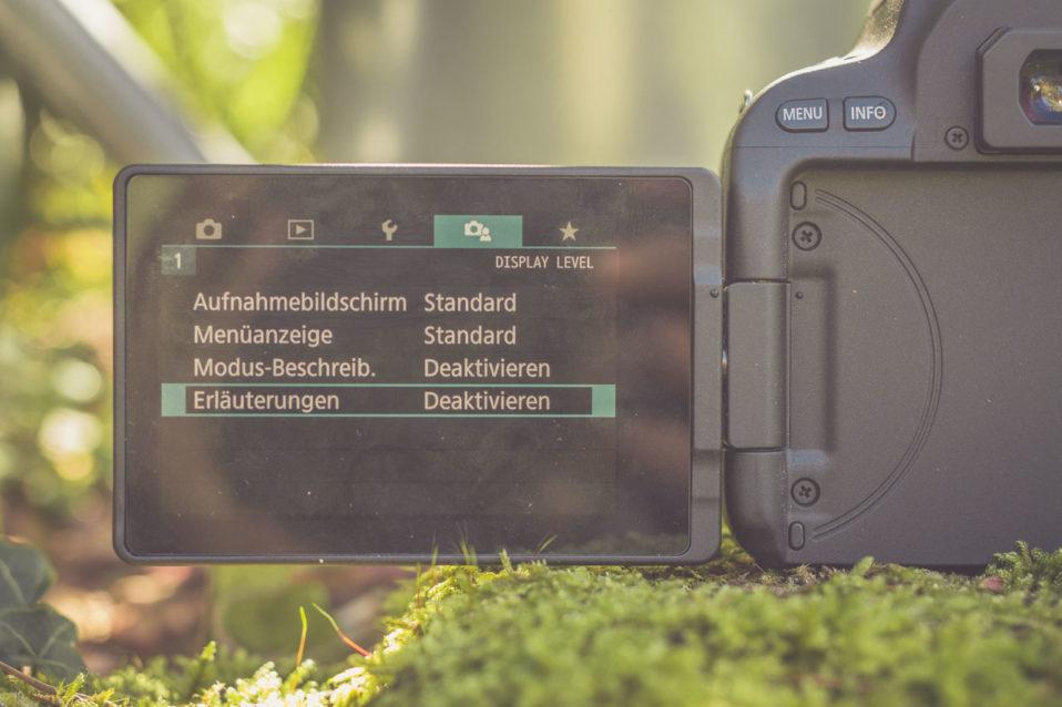 Kameramenue der EOS 200D im Test