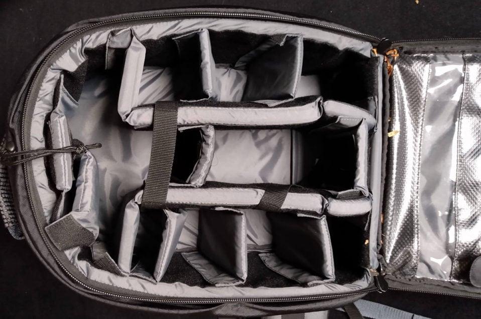 Innenraum eines Fotorucksacks